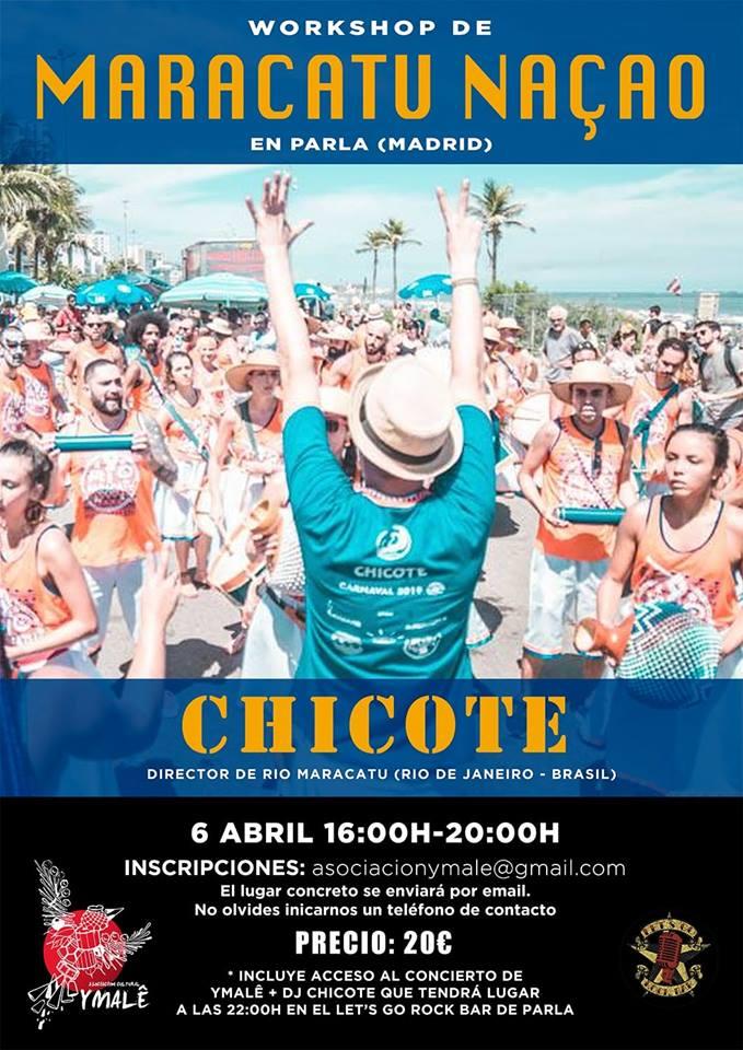 Taller (workshop) de maracatú en Madrid con Chicote (Rio Maracatu) organizado por la asociación Ymalê.
